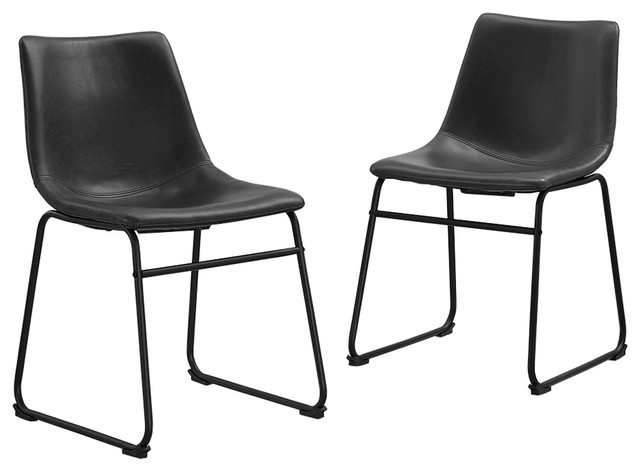 black faux leather dining chairs set of 2