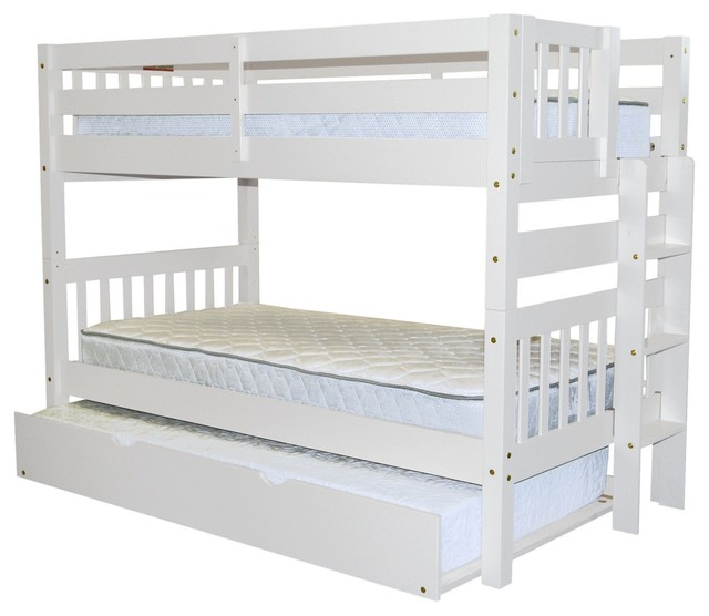 Bedz King Bunk Beds Twin Over Twin, End Ladder And Twin Trundle, White