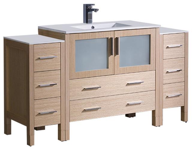 Fresca Torino 60 Light Oak Modern Bathroom Vanity W 2 Side Cabinets Integrat