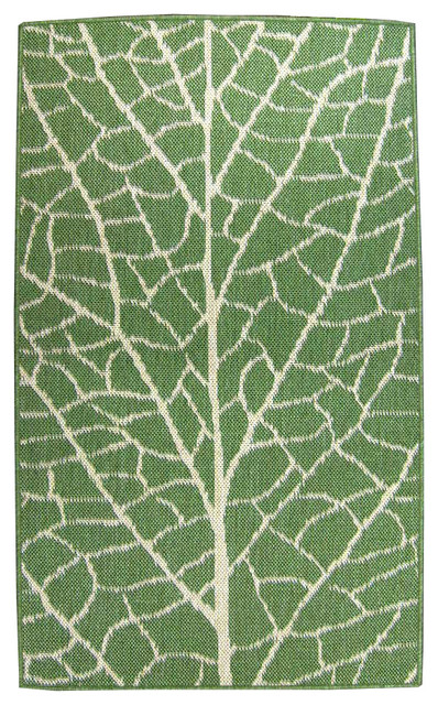 Leaf 24x90 Outdoor And Indoor Reversible Rug Green Natural