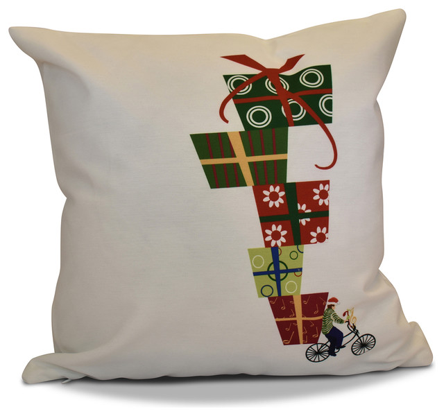 "Decorative Holiday Outdoor Pillow Geometric Print, White, 18""x18"""