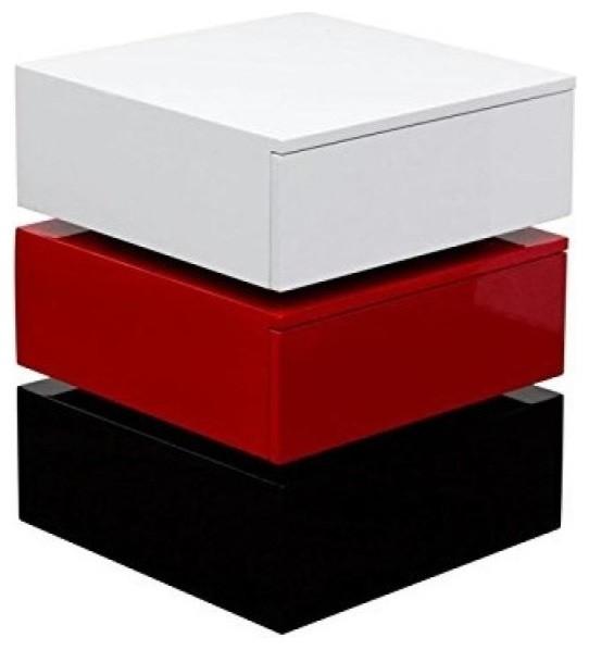 Diamond sofa tri color accent table with 2 drawer storage by diamond sofa black white gray - Contemporary side tables with storage ...