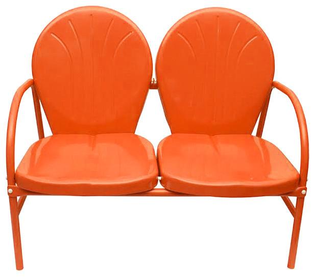 Superieur Retro Metal Tulip 2 Seat Double Chair, Orange