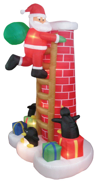 Inflatable Christmas Santa Claus Climbing Chimney And