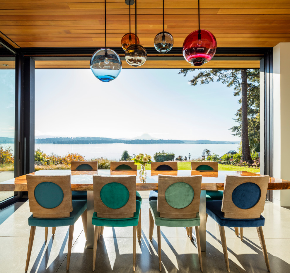 Inspiration for a modern dining room remodel in Seattle
