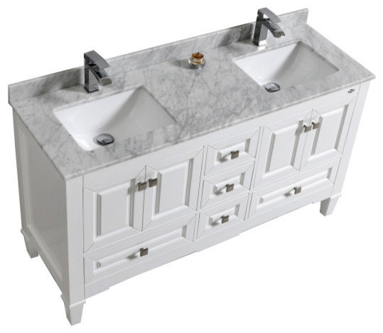 "Syca Double Sink White Bathroom Vanity With Carrara Marble Top, 60""."