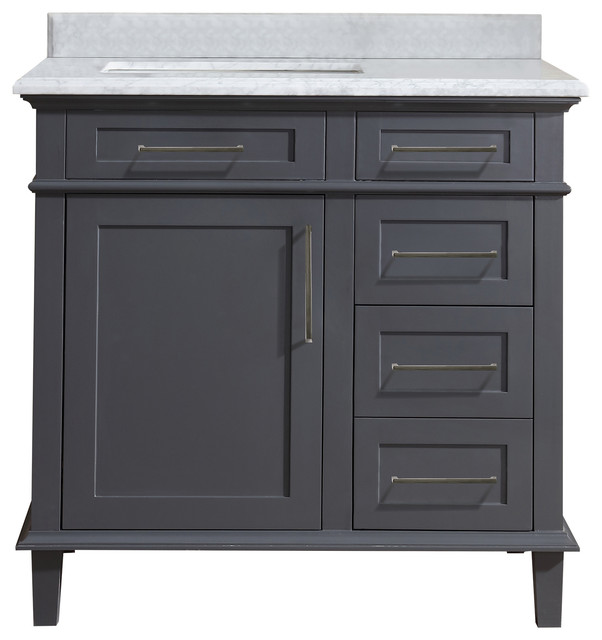 "Humphrey Carrara Marble Bathroom Vanity, Gray, 36""."