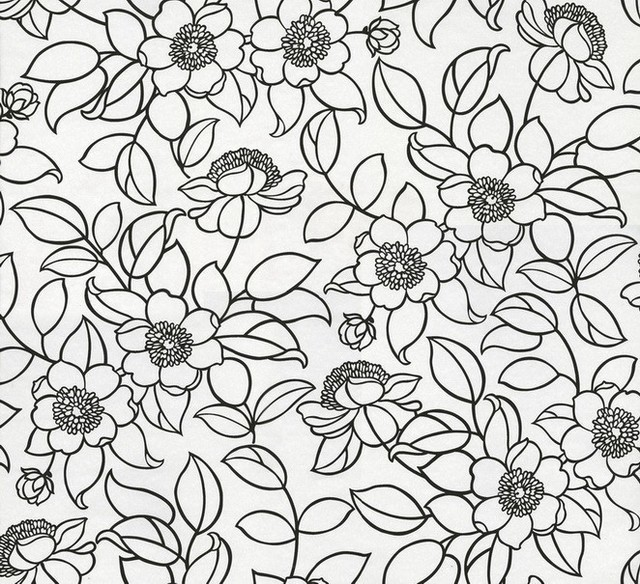 Athena stylized floral wallpaper contemporary wallpaper by athena stylized floral wallpaper white and black mightylinksfo