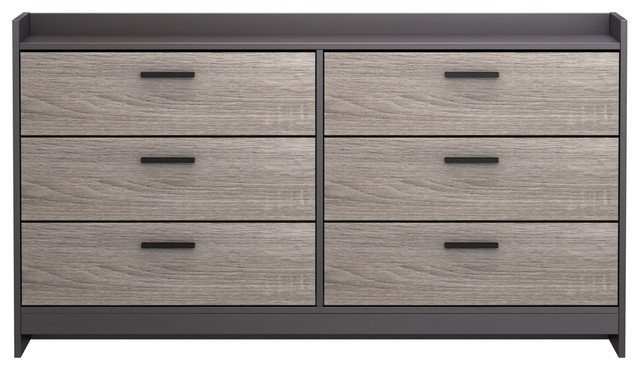 Homestar Central Park Dresser With 6 Drawers, Java Brown With Sonoma Finish