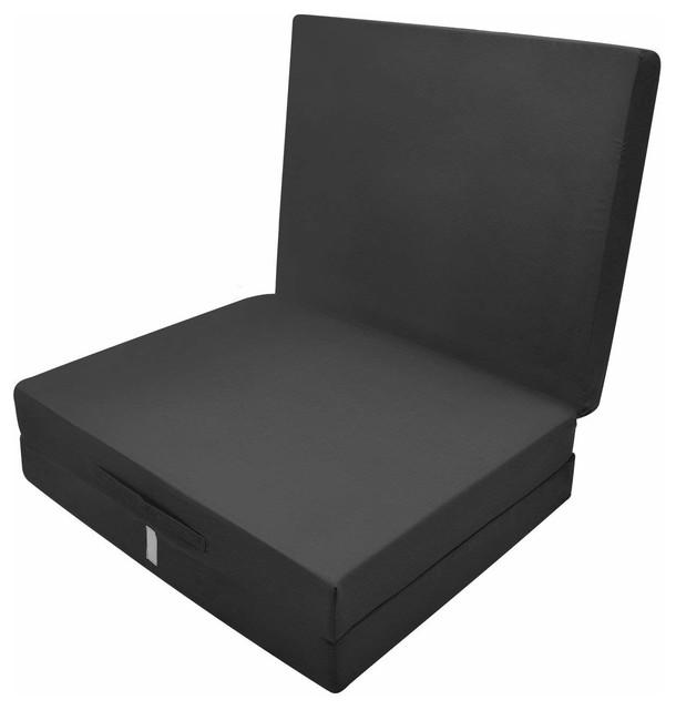 Futon Mattress in Polyester, Simple Modern Design, Foldable, Black
