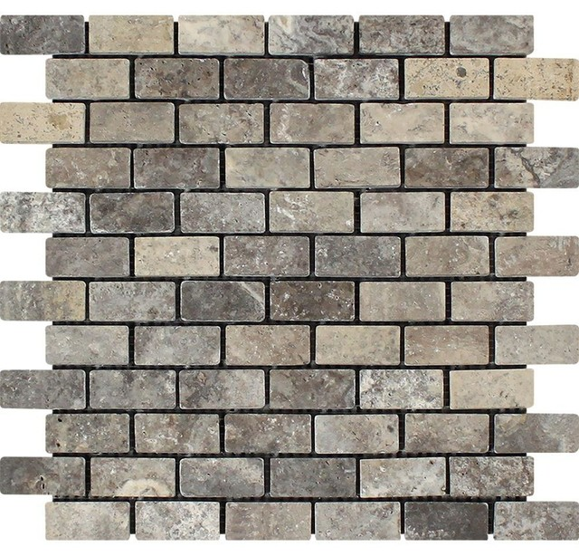 12 X12 Silver Travertine Brick Mosaic Tumbled