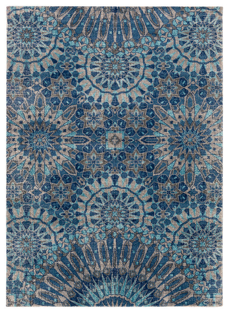 tessera global dark blue teal area rug contemporary area rugs by surya. Black Bedroom Furniture Sets. Home Design Ideas