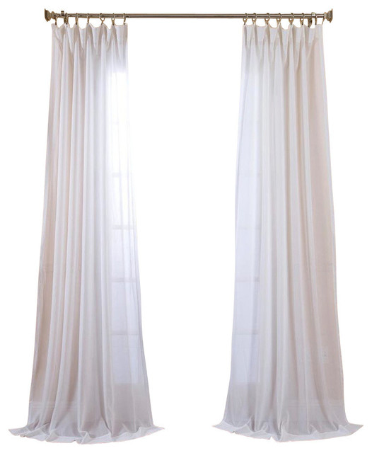 "White Orchid Fauxlinen Sheer Curtain Single Panel, 50""x108""."