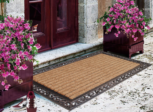 Rubber And Coir Molded Large Double Door Mat Copper
