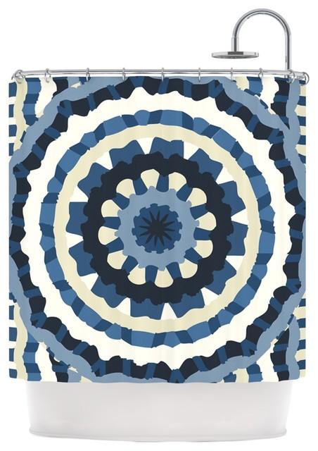 Laura Nicholson Ribbon Mandala Navy Tan Shower Curtain