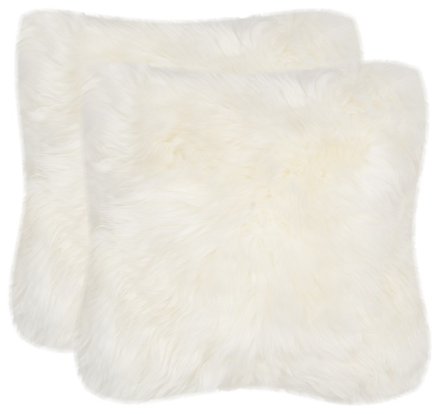 faux arctic fox pillow white set of 2 contemporary decorative pillows - White Decorative Pillows