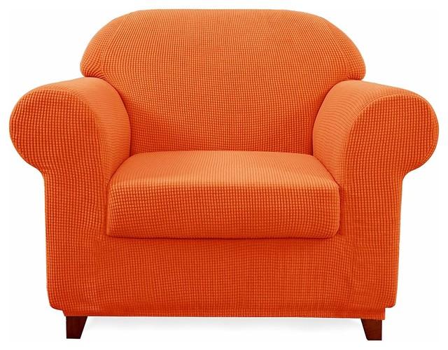 Subrtex 2-Piece Spandex Stretch Sofa Slipcover, Orange, Chair