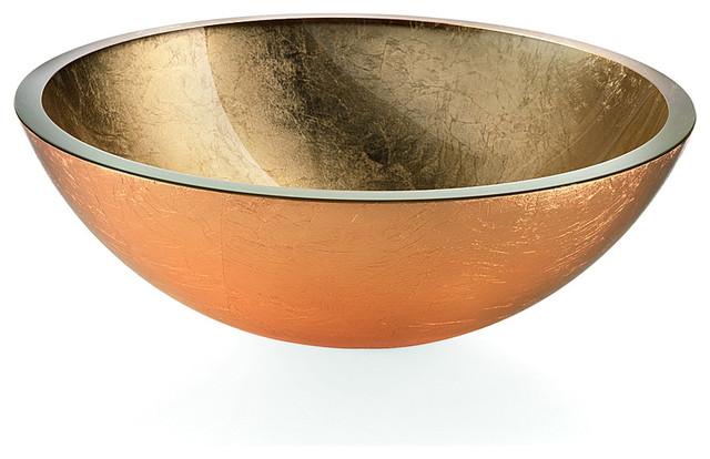 """Lb Round Glass Vessel Sink Bowl, Gold Leaf, 16.7""""."""