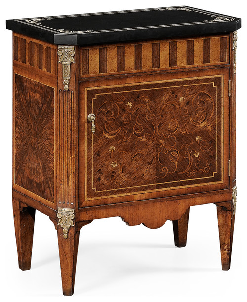 Small Satinwood and Black Scagliola Italian Commode