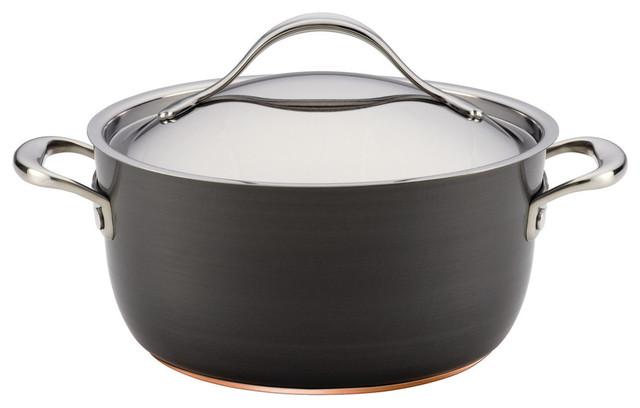 Nouvelle Copper Hard-Anodized Nonstick 5-Quart Covered Dutch Oven, Dark Gray.