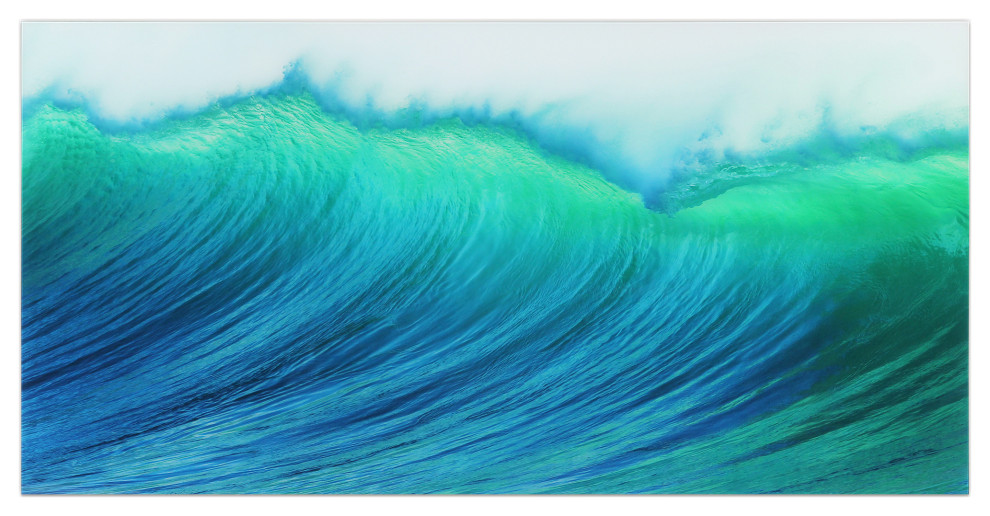 Blue Wave Wall Art Frameless Free Floating Tempered Art Glass 72 X36 Beach Style Prints And Posters By Empire Art Direct