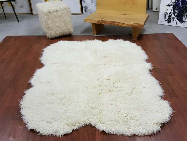Sheepskin Shape 3 X5 Natural White Flokati Rug Super