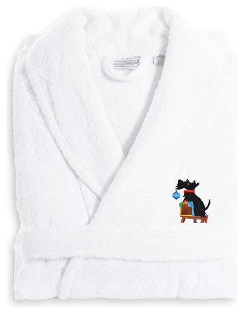 Monogrammed Luxury Terry Bathrobe With Christmas Dog - Contemporary -  Bathrobes - by Linum Home Textiles fe6d300db