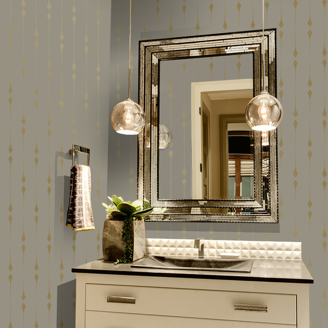 Tempaper Shimmer Taupe Metallic Gold Leaf Self Adhesive Removable Wallpaper