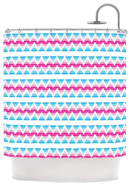 Apple Kaur Designs Swimming Pool Tiles Blue Pink Shower Curtain