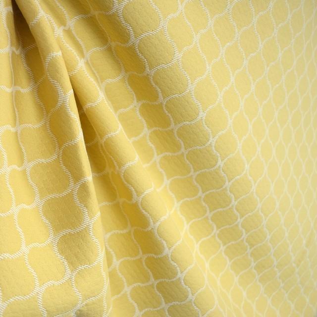 Oakley Daffodil Golden Yellow Cream Ogee Trellis Matelasse Diamond Fabric