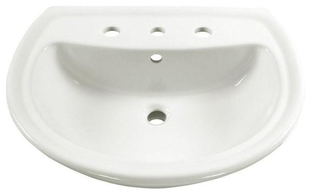 Cadet 6 Pedestal Sink Basin, 8 Faucet Centers, White.