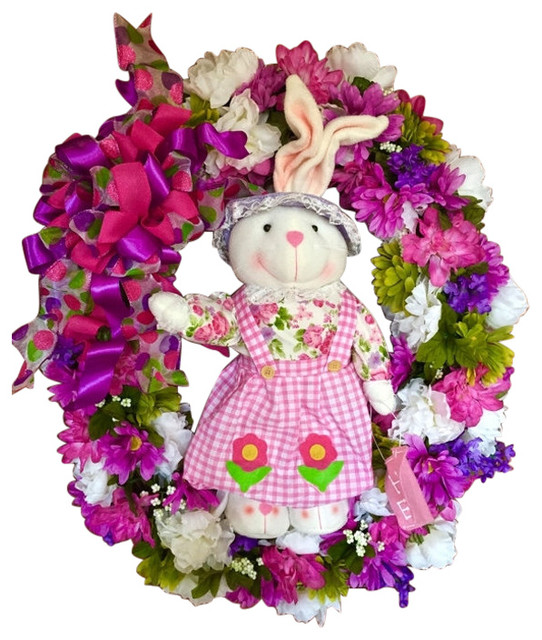 Outdoor Oval Spring Floral Wreath With Bunny, Pink, Purple, And White.