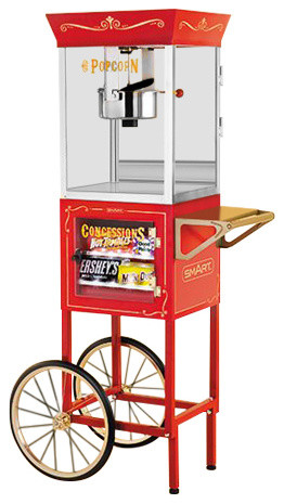 Smart Old Fashioned Movie Time Popcorn Cart With Concession Stand