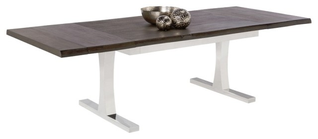 Extension Dining Table Acacia Veneer and Polished Stainless Steel
