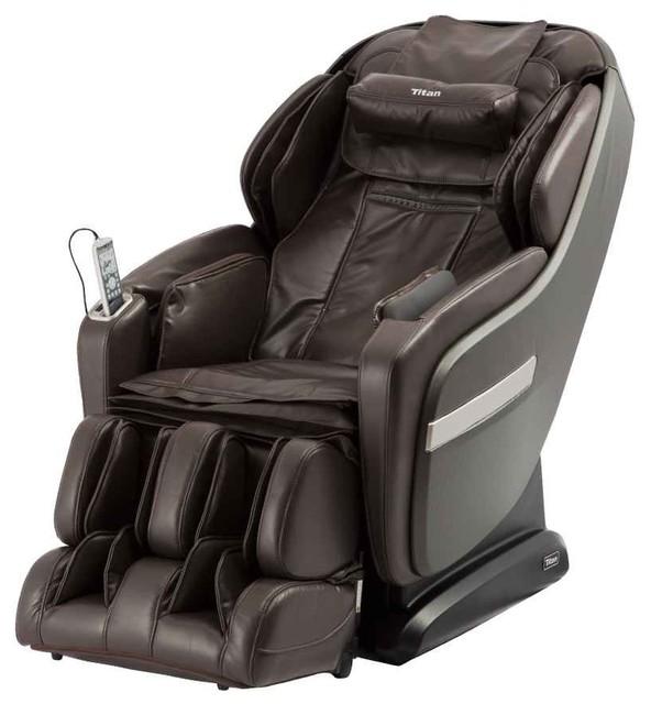 Titan OS-Pro Summit L-Track Foot Roller Space Saving Massage Chair Brown by Titan Chair LLC