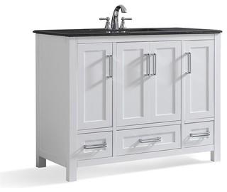"""Simpli Home Evan 42"""" Black Granite Top Bathroom Vanity, White"""