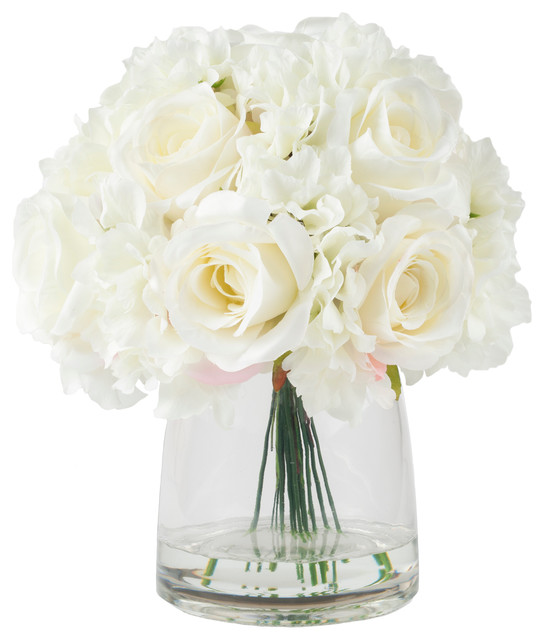 pure garden hydrangea and rose floral arrangement with vase cream contemporary artificial flower - Garden Rose And Hydrangea Bouquet