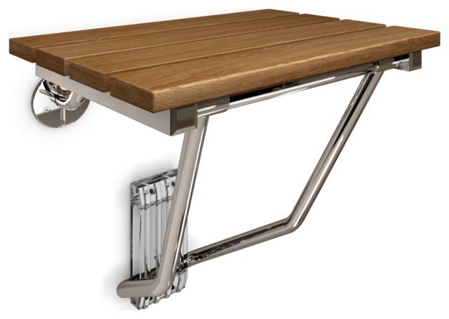 DreamLine SHST-02-TN Natural Teak Folding Shower Seat. ADA Compliant Shower Seat
