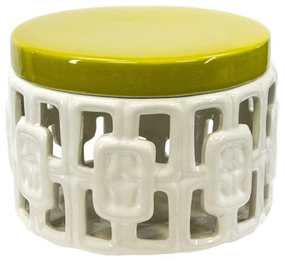 Sagebrook Home 7.5 Ceramic Covered Jar, Yellow With White.