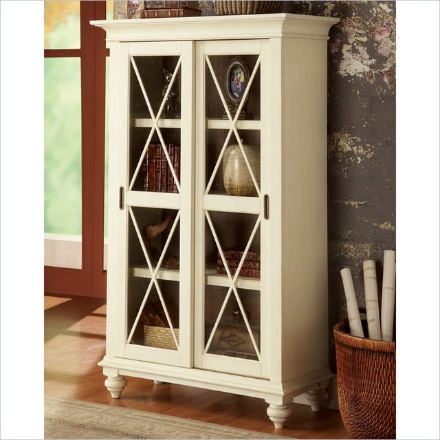 Riverside Furniture Coventry Two Tone Bookcase In Dover White  Modern Bookcases Cabinets And