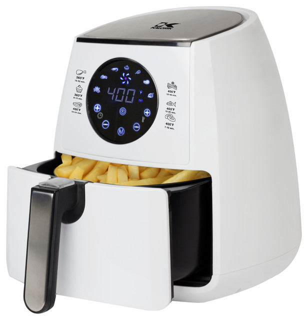 Digital Airfryer With Dual Layer Rack, White.