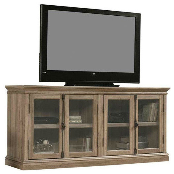 "Salt Oak Wood Finish Tv Stand With Tempered Glass Doors Fits Up To 80"" Tv."
