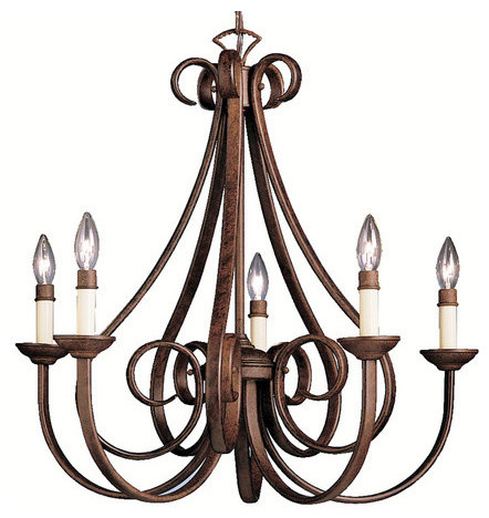 "Kichler 2021TZ Dover Single-Tier Candle Chandelier 5 Lights, 72"" Chain, 2"