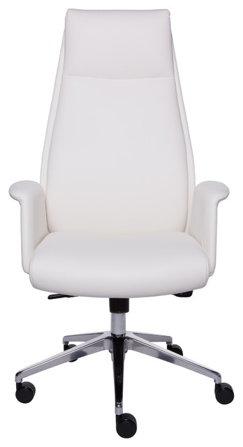 Ilaria High Back Office Chair, White/polished Aluminum.