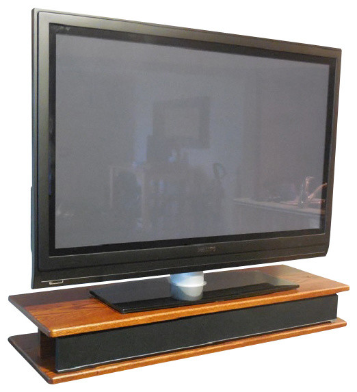 Flat Screen Oak TV Riser For Sound Bar Traditional