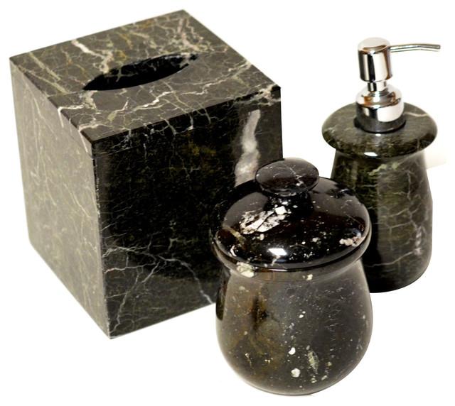 Polished marble bathroom 3 piece bath set traditional - Black marble bathroom accessories ...