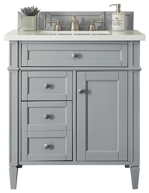 """Brittany 30"""" Single Vanity, Urban Gray, Arctic Fall Solid Surface."""