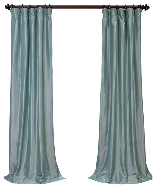 robinu0027s egg blackout faux silk taffeta curtain single panel curtains - Silk Drapes