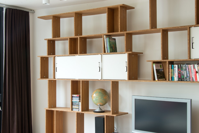 grande biblioth que meuble tv en l contemporain. Black Bedroom Furniture Sets. Home Design Ideas