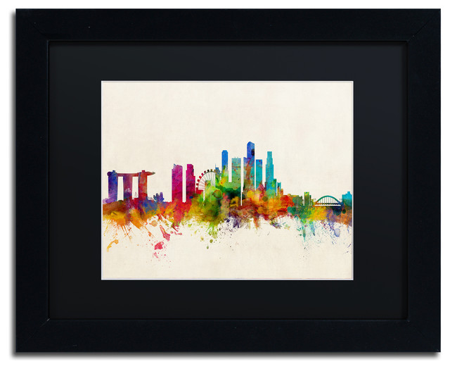 Quot Singapore Skyline Quot Matted Framed Canvas Art By Michael